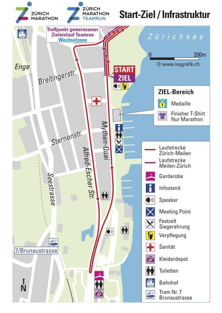 Start and finish zone, Zurich Marathon (Zürich Marathon) 2021