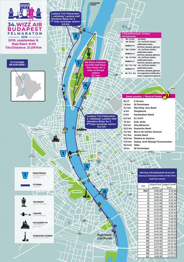 Трасса Будапештского полумарафона (Wizz Air Budapest Half Marathon) 2019