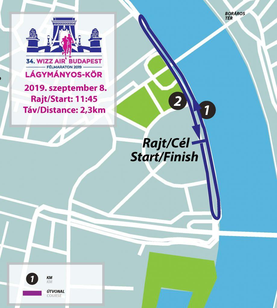 Трасса забега на 2,3 км в рамках Будапештского полумарафона (Wizz Air Budapest Half Marathon) 2019