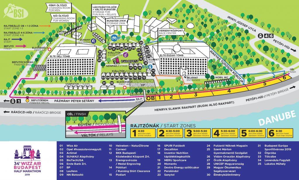 План зоны старта и финиша Будапештского полумарафона (Wizz Air Budapest Half Marathon) 2019