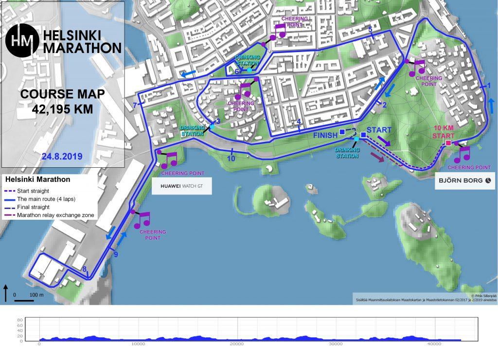 Трасса Хельсинского марафона (Helsinki Marathon) 2019 с профилем высот