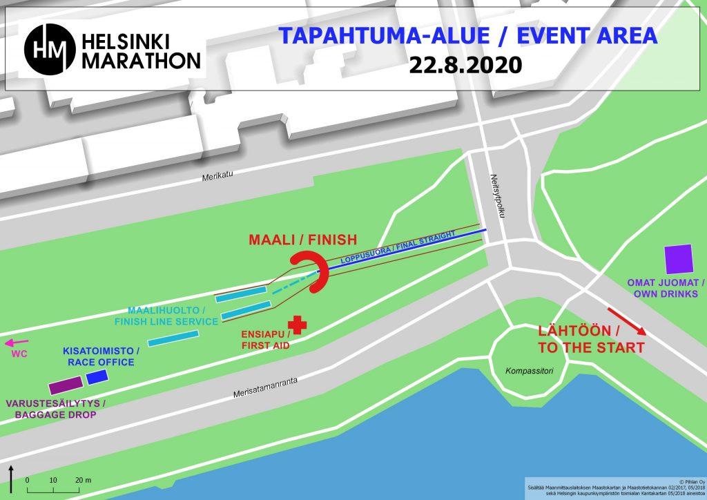 Зона финиша Хельсинского марафона (Helsinki Marathon) 2020