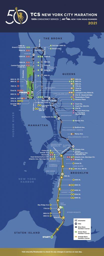 Трасса Нью-Йоркского марафона (TCS New York City Marathon) 2021
