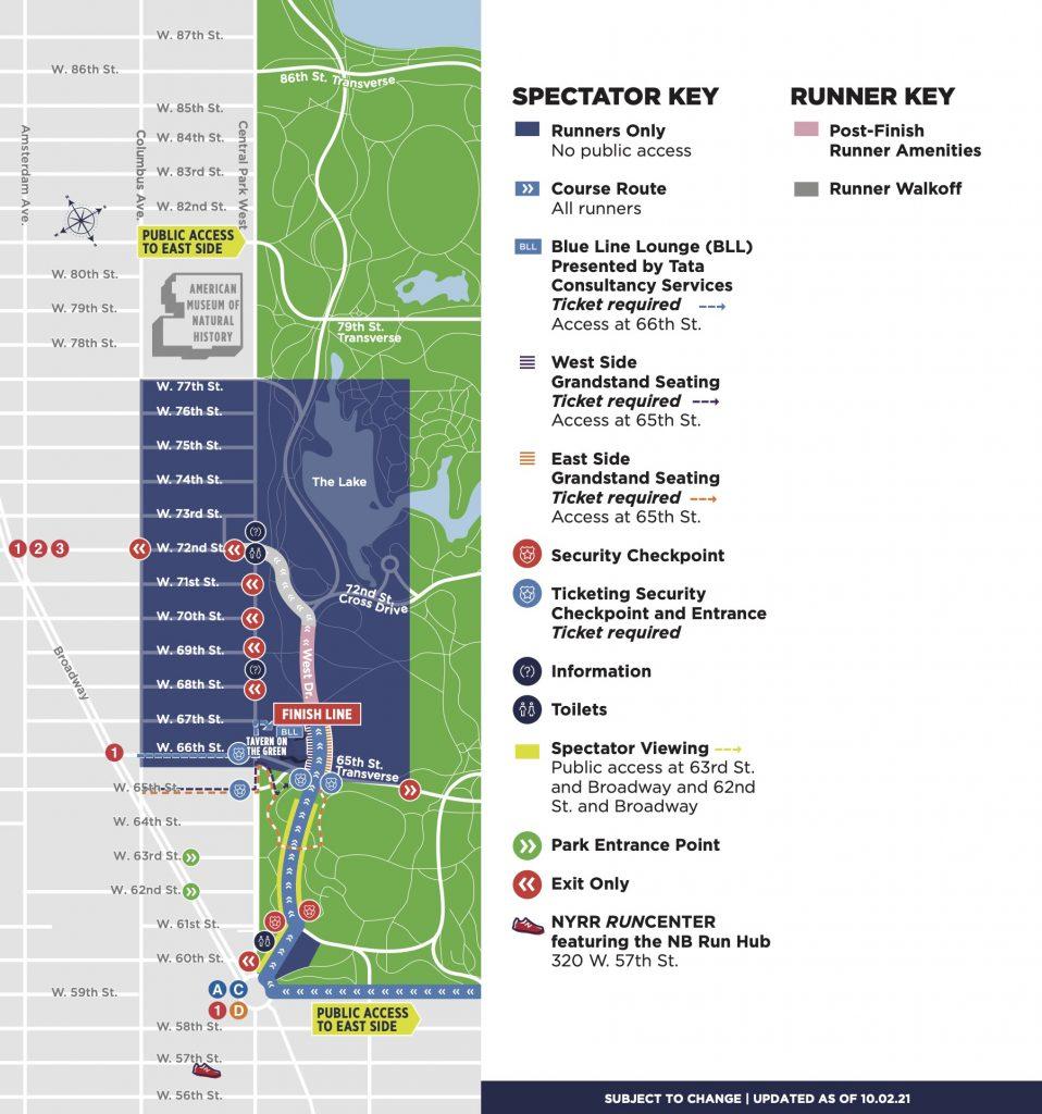 План зоны финиша Нью-Йоркского марафона (TCS New York City Marathon) 2021