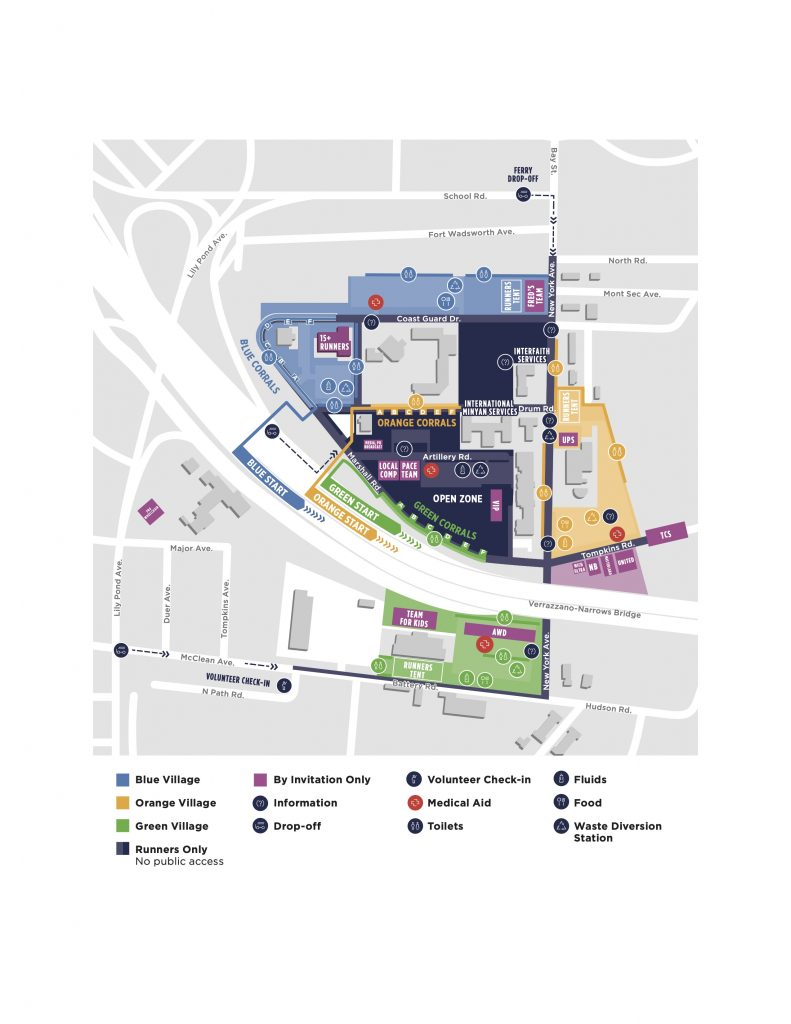 План зоны старта Нью-Йоркского марафона (TCS New York City Marathon) 2021