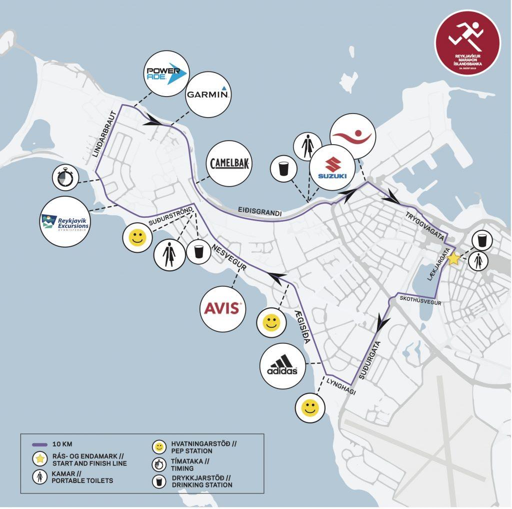 Трасса забега на 10 км в рамках Рейкьявикского марафона (Reykjavíkurmaraþon Íslandsbanka) 2019