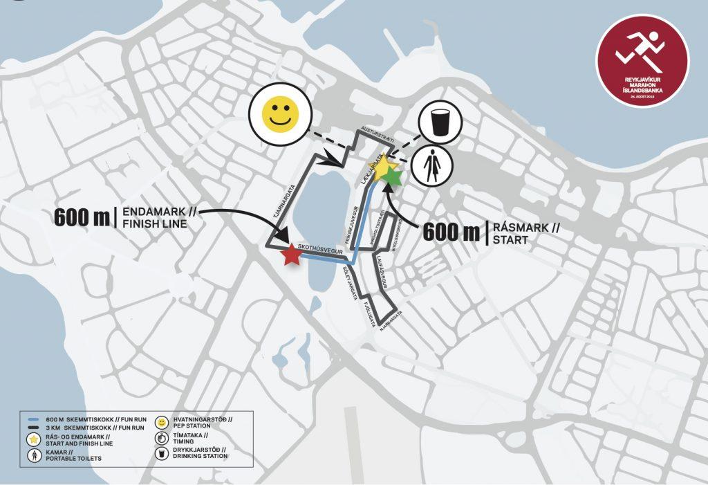 Трассы развлекательных забегов на 3 км и 0,6 км в рамках Рейкьявикского марафона (Reykjavíkurmaraþon Íslandsbanka) 2019