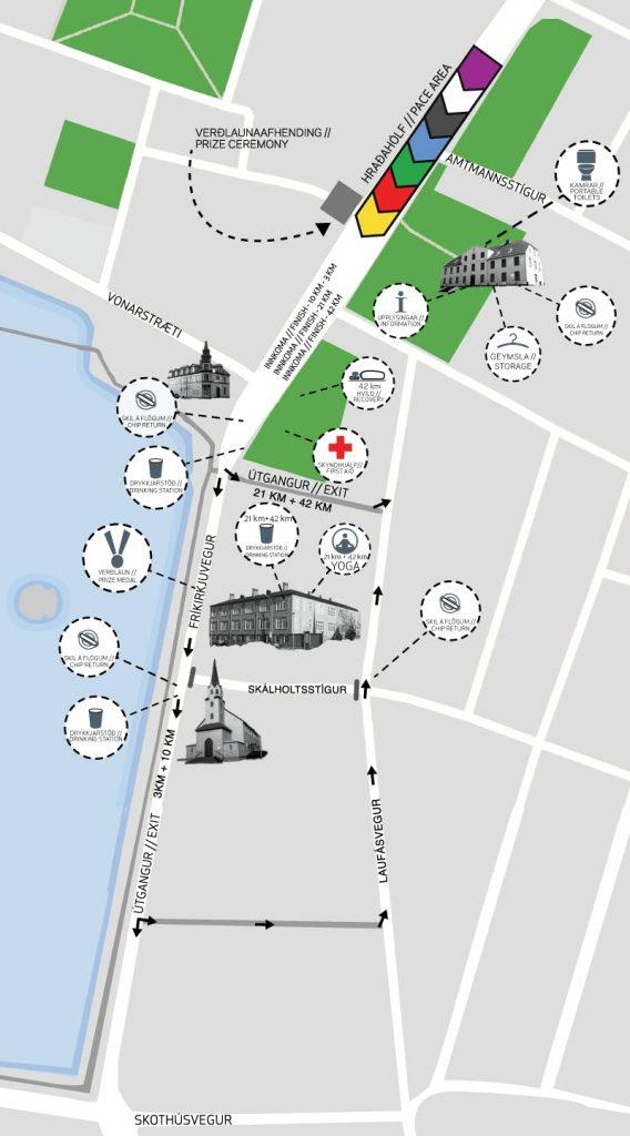 План зоны старта и финиша Рейкьявикского марафона (Reykjavíkurmaraþon Íslandsbanka) 2019