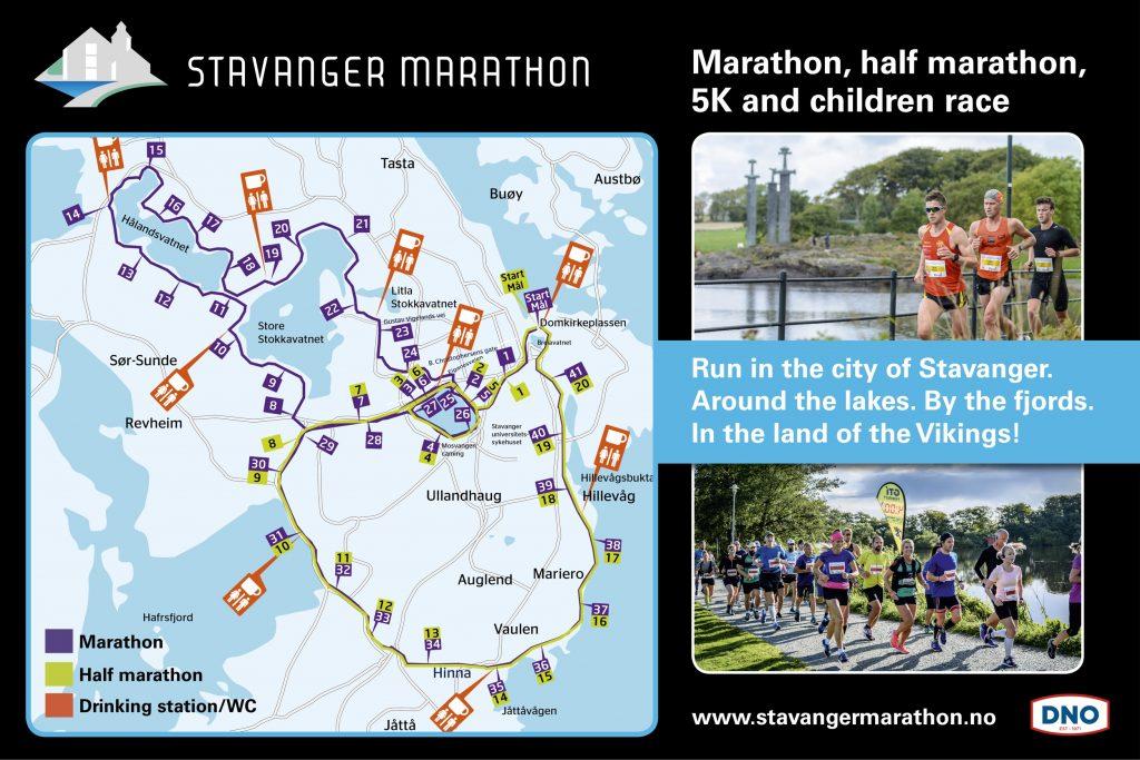 Course of the Stavanger Marathon and Half Marathon 2020