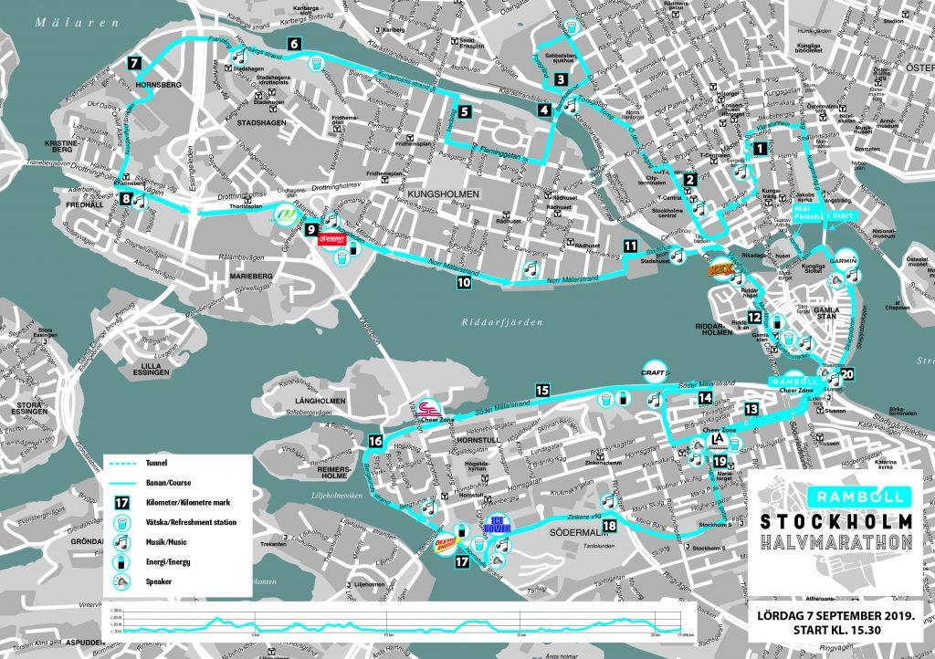 Трасса Стокгольмского полумарафона (Ramboll Stockholm Halvmarathon) 2019