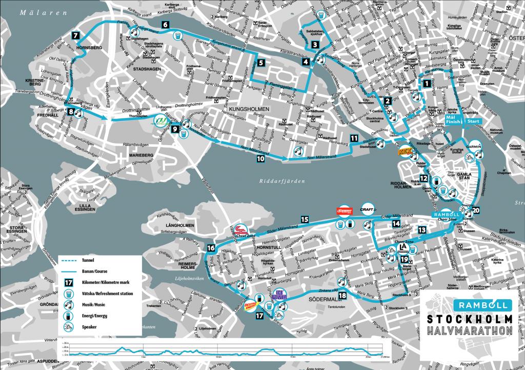 Course of the Stockholm Half Marathon (Ramboll Stockholm Halvmarathon) 2021