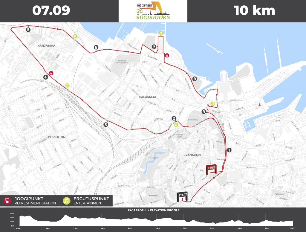 Трасса забега на 10 км в рамках Таллинского марафона (Tallinna Maraton) 2019