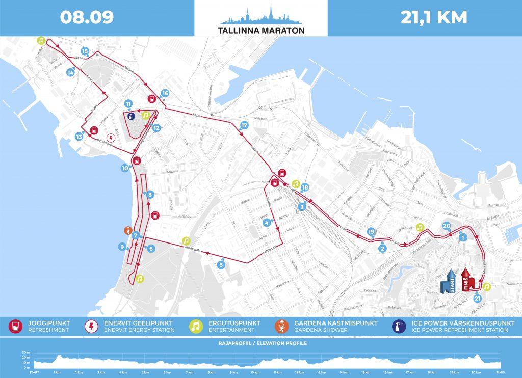 Трасса Таллинского полумарафона 2019 с профилем высот
