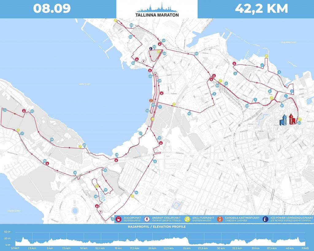 Трасса Таллинского марафона (Tallinna Maraton) 2019 с профилем высот