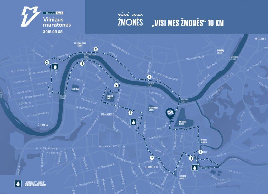 Трасса забега на 10 км в рамках Вильнюсского марафона (Danske Bank Vilniaus Maratonas) 2019
