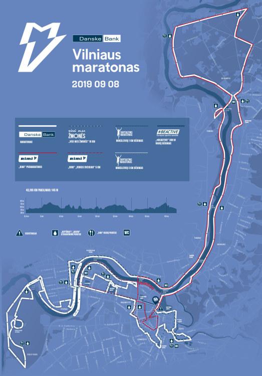 Трасса забегов Вильнюсского марафона (Danske Bank Vilniaus Maratonas) 2019 с профилем высот