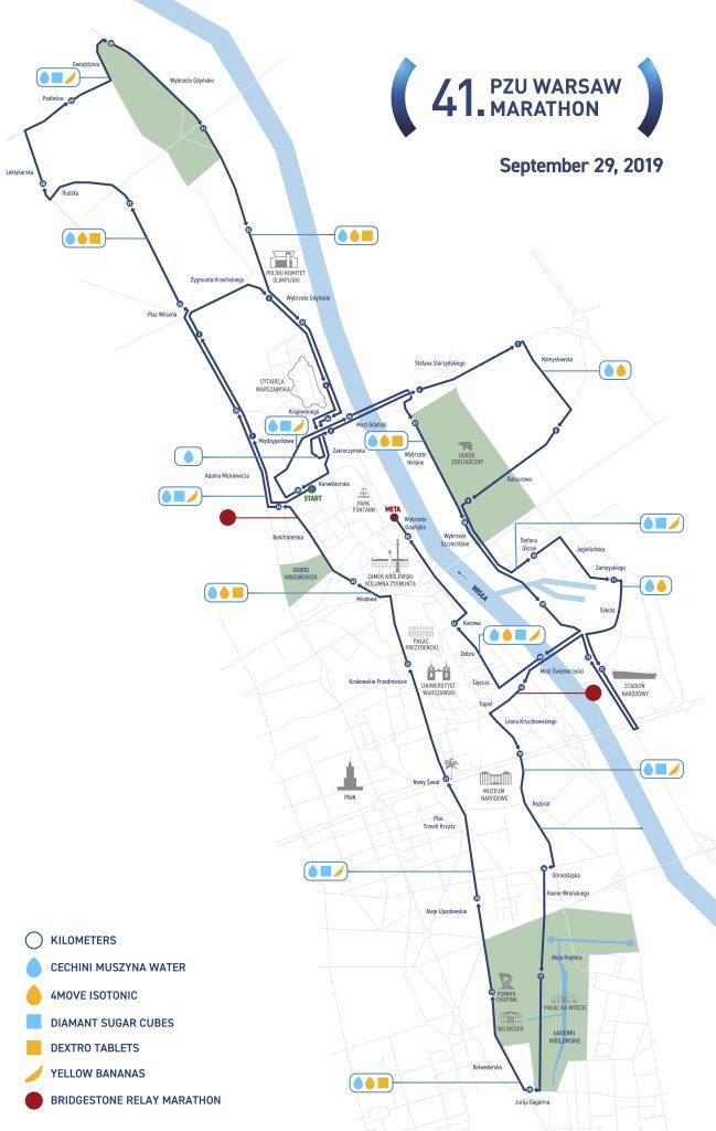 Трасса Варшавского марафона (PZU Maraton Warszawski) 2019