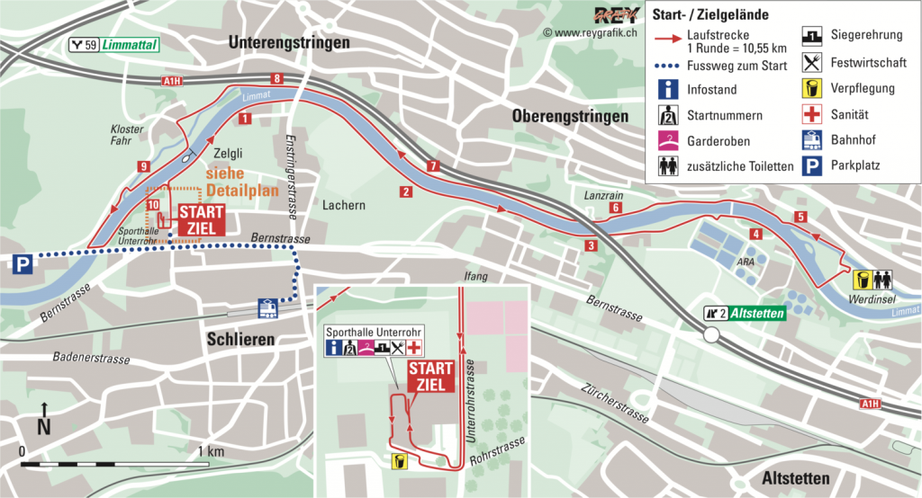 The course of the New Year Zurich Marathon (Neujahrsmarathon Zürich) 2021