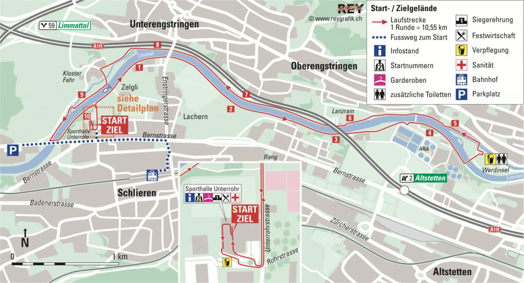 Трасса забегов Новогоднего цюрихского марафона (Neujahrsmarathon Zürich) 2021