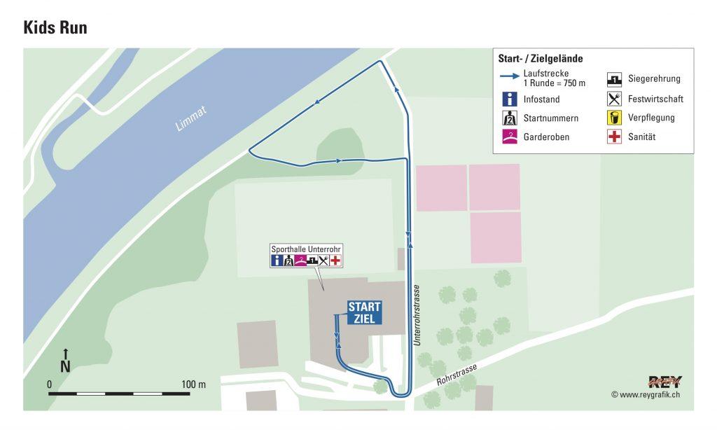 Трасса детского забега в рамках Новогоднего Цюрихского марафона (Neujahrsmarathon Zürich) 2021