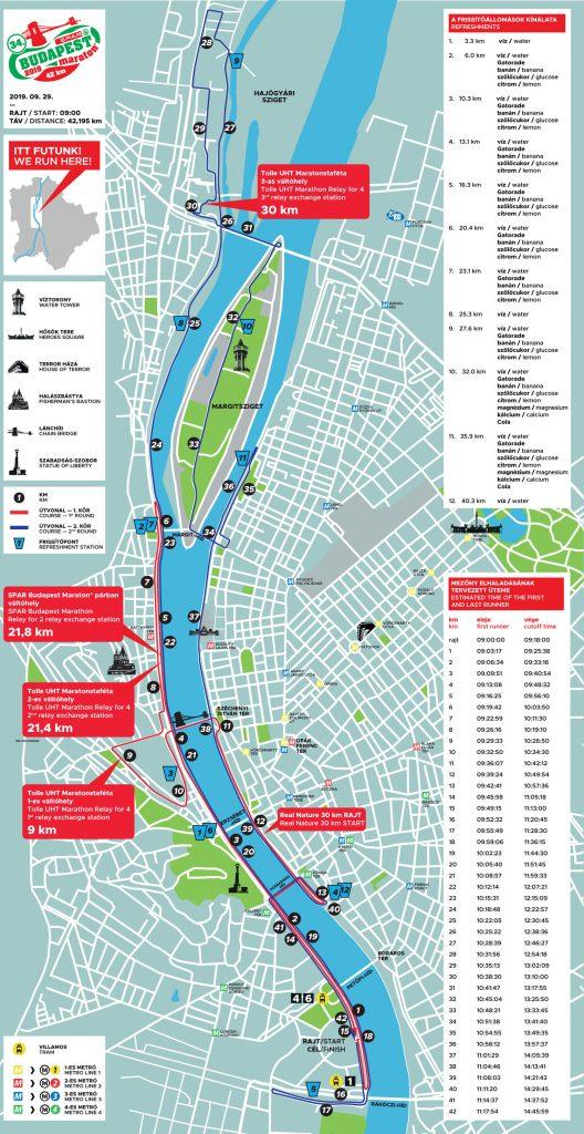 Трасса Будапештского марафона (SPAR Budapest Marathon) 2019