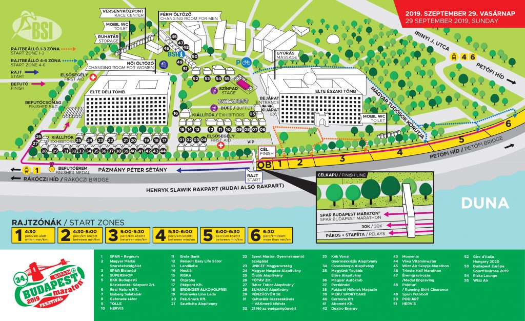 План зоны старта и финиша Будапештского марафона (SPAR Budapest Marathon) 2019
