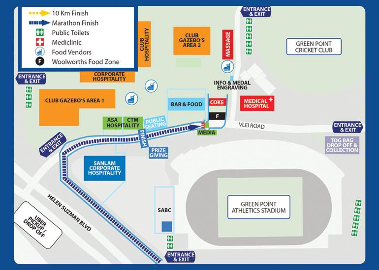 План зоны финиша Кейптаунского марафона (Sanlam Cape Town Marathon) 2020