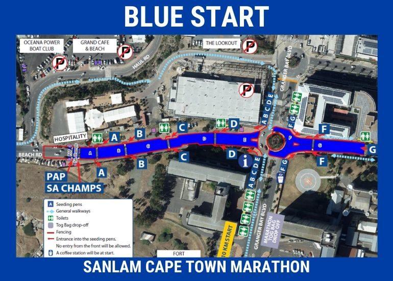 План зоны старта Кейптаунского марафона (Sanlam Cape Town Marathon) 2020 с делением на стартовые блоки