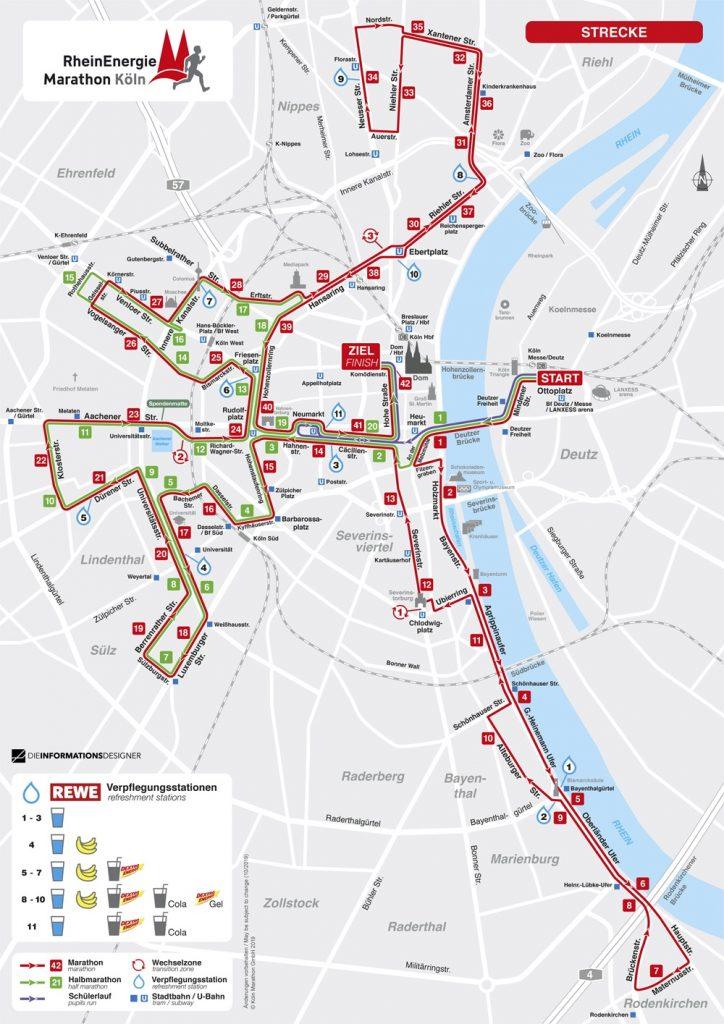 Трасса Кельнского марафона (Generali Köln Marathon) и полумарафона (Generali Halbmarathon Köln) 2020