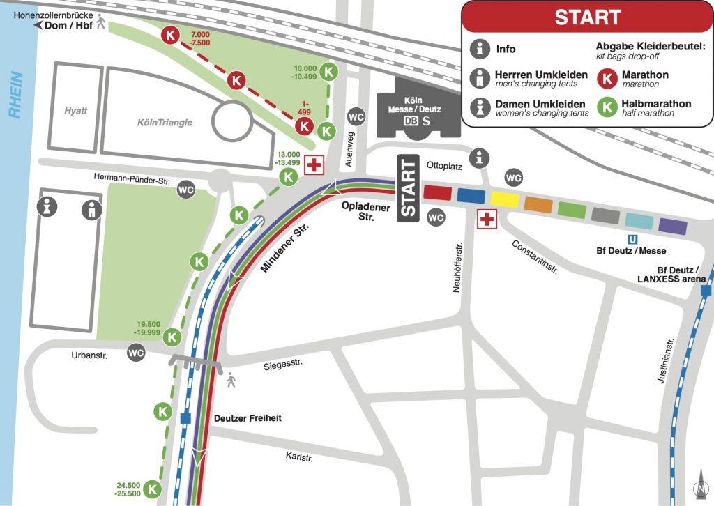 Зона старта Кельнского марафона (Generali Köln Marathon) и полумарафона (Generali Halbmarathon Köln) 2020 с делением на стартовые блоки