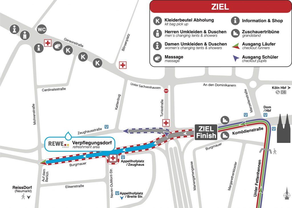 Зона финиша Кельнского марафона (Generali Köln Marathon) и полумарафона (Generali Halbmarathon Köln) 2020