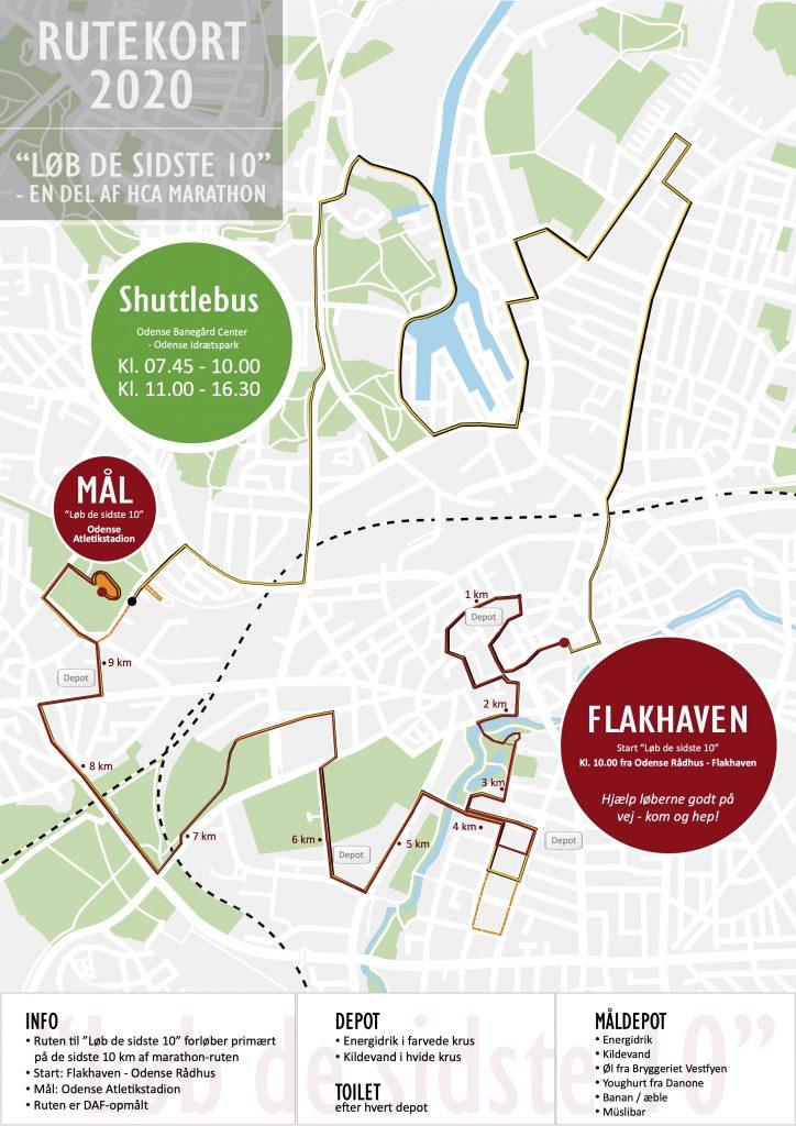 Трасса забега на 10 км в рамках Оденсейского марафона (H.C. Andersen Marathon) 2020