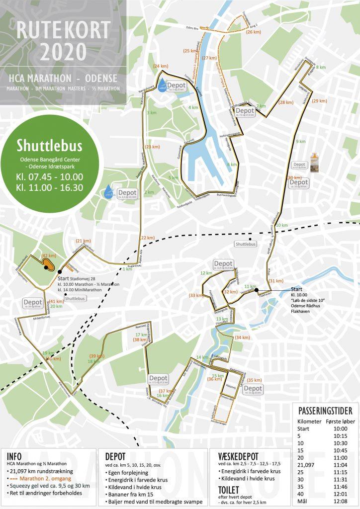 Трасса Оденсейского марафона (H.C. Andersen Marathon) и полумарафона 2020, марафонцы пробегают 2 круга