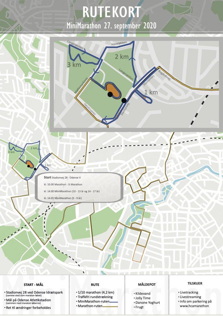Трасса детских забегов в рамках Оденсейского марафона (H.C. Andersen Marathon) 2020