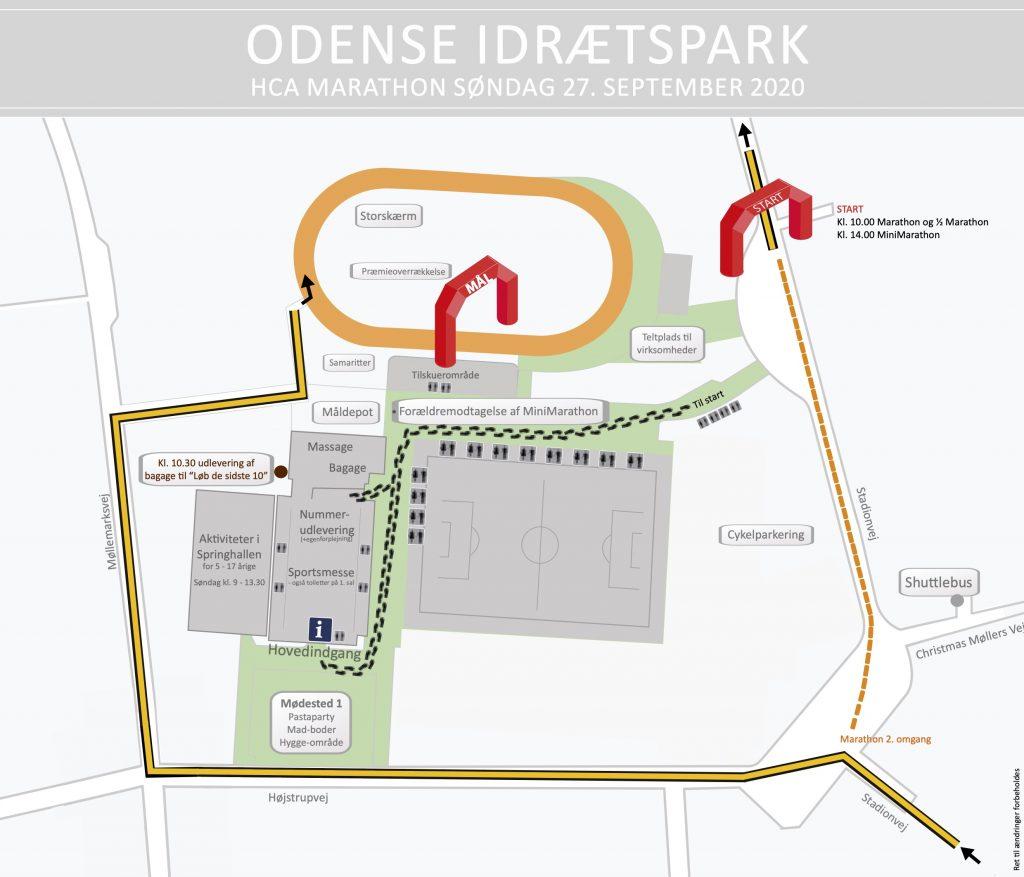 Зона старта и финиша Оденсейского марафона (H.C. Andersen Marathon) 2020