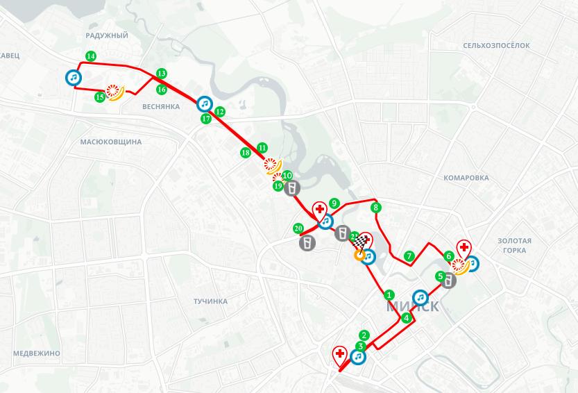 Трасса Минского полумарафона (Minsk Half Marathon) 2020