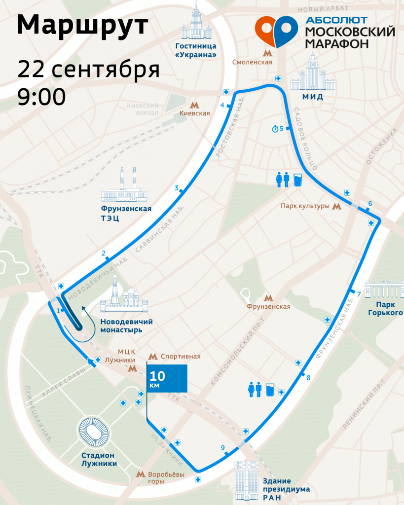 Трасса забега на 10 км в рамках Московского марафона (Абсолют Московский марафон) 2019