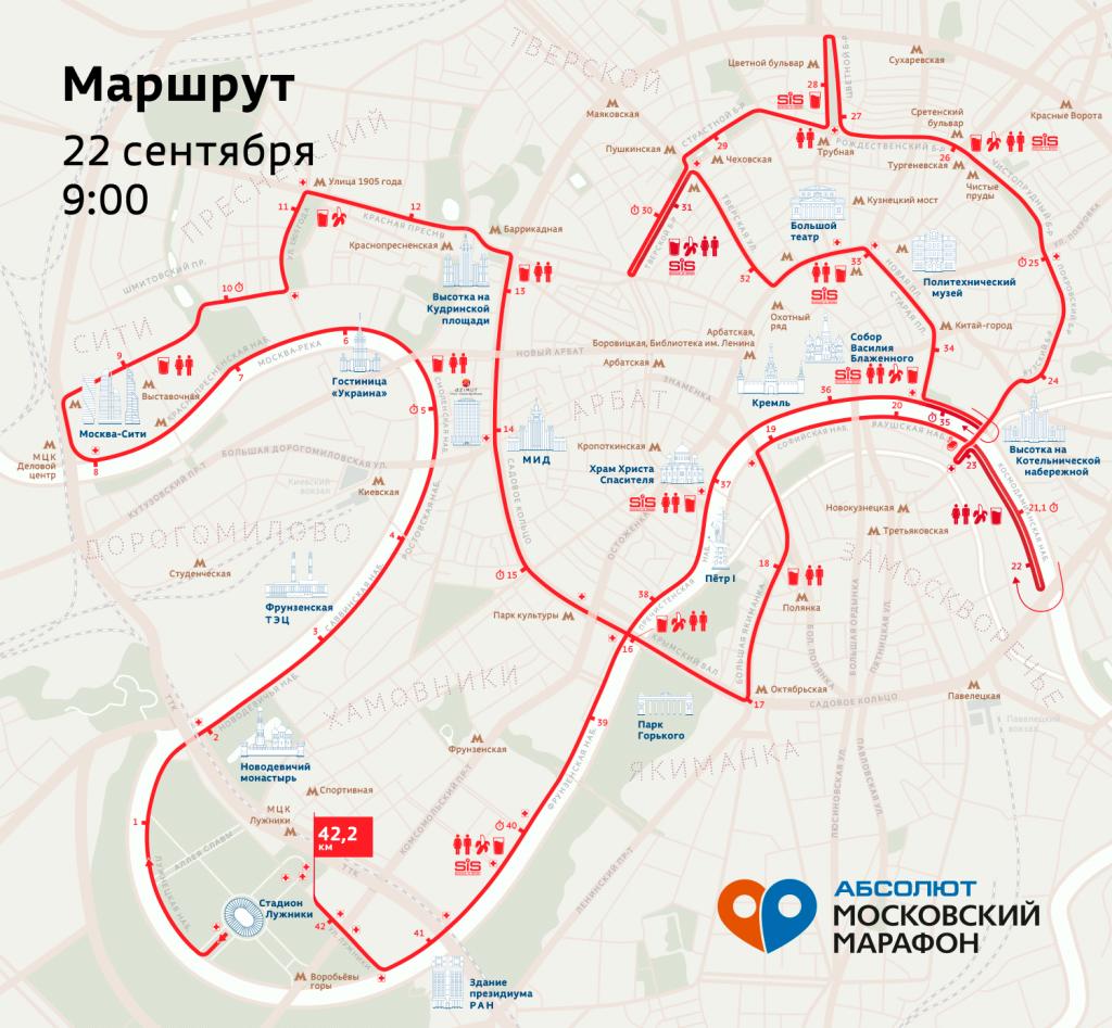 Трасса Московского марафона (Абсолют Московский марафон) 2019