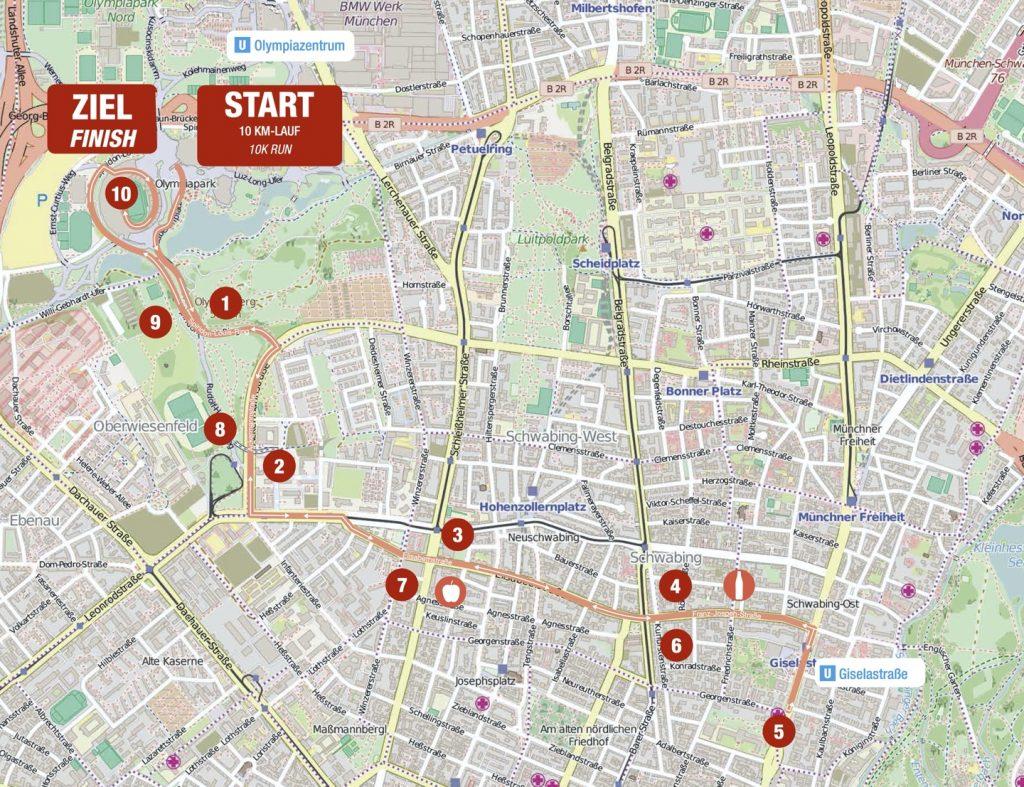 Трасса забега на 10 км в рамках Мюнхенского марафона (Generali München Marathon) 2020