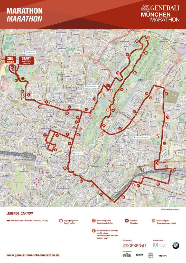 Трасса Мюнхенского марафона (Generali München Marathon) 2020