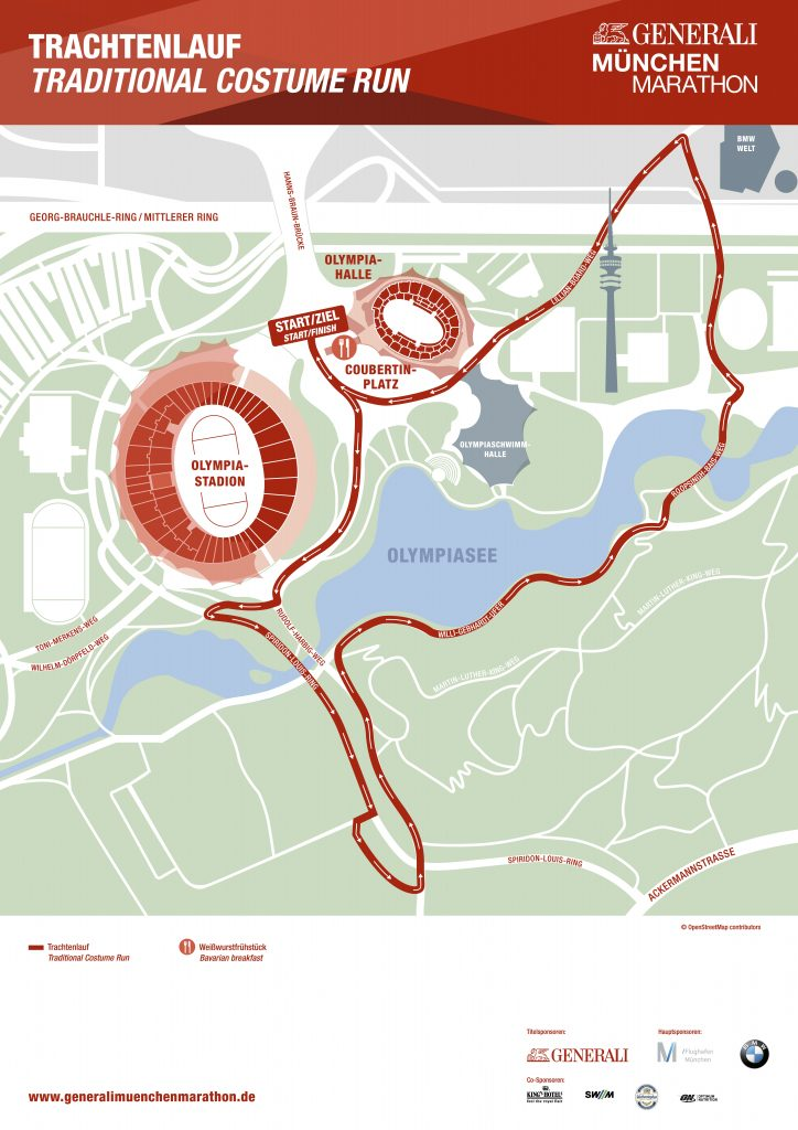 Маршрут забега за завтраком в рамках Мюнхенского марафона (Generali München Marathon) 2020