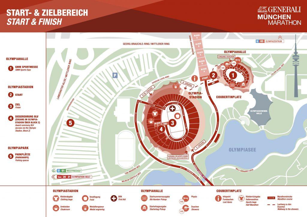 План зоны старта и финиша Мюнхенского марафона (Generali München Marathon) 2020