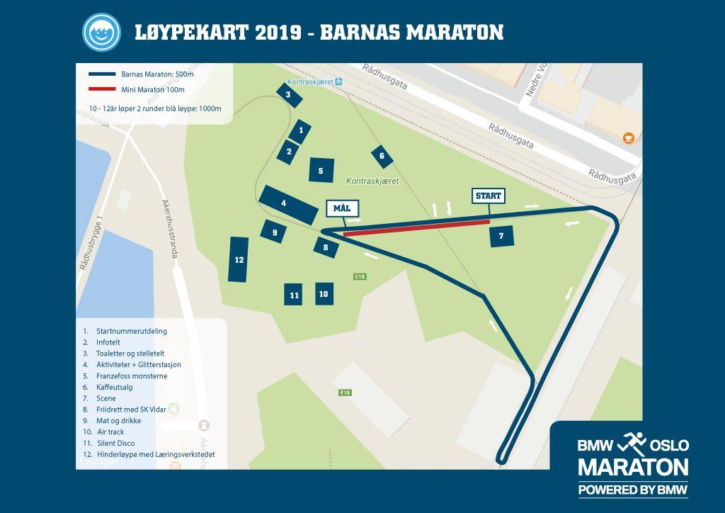 Трасса детских забегов в рамках Ословского марафона (BMW Oslo Maraton) 2019