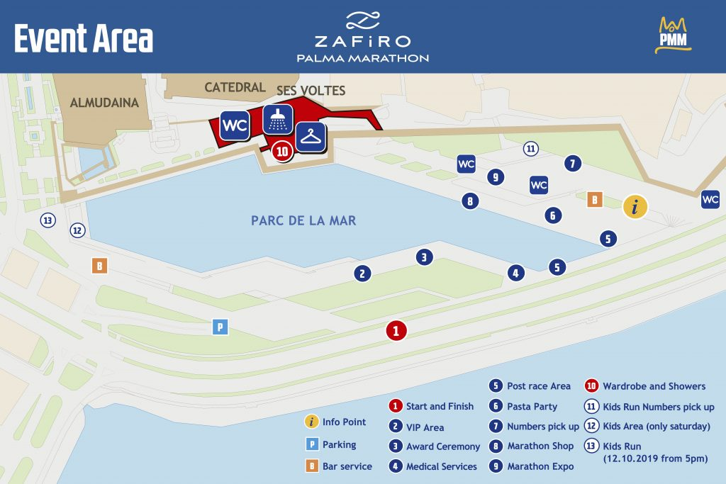 Start and finish zone, Palma Marathon (Zafiro Palma Marathon) 2021