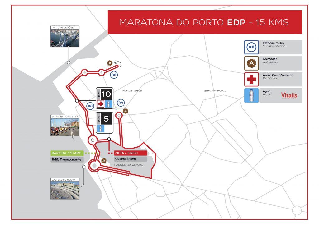 Трасса забега на 15 км в рамках Марафона в Порту (Maratona do Porto EDP) 2020