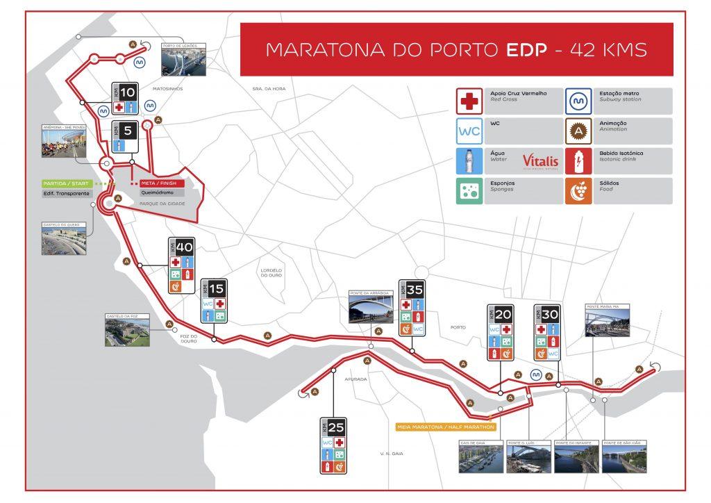 Трасса Марафона в Порту (Maratona do Porto EDP) 2020