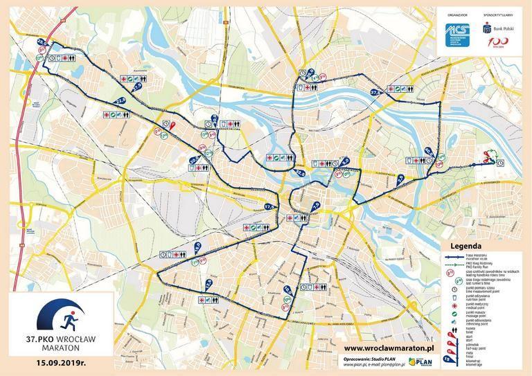 Трасса Вроцлавского марафона (PKO Wrocław Maraton) 2019, в 2020 трасса меняется