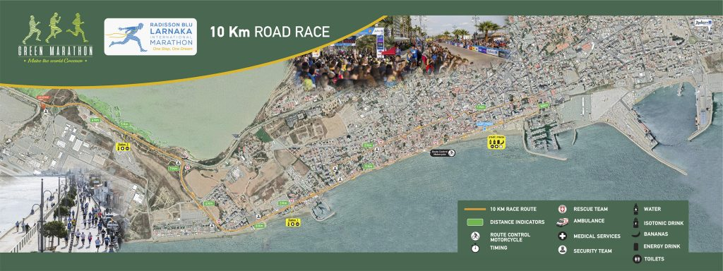 Course of the 6.2mi/10km race, Larnaka Marathon (Radisson Blu Διεθνής Μαραθώνιος Λάρνακας, Radisson Blu Larnaka International Marathon) 2021
