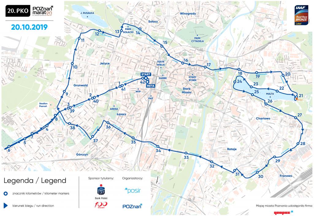 Трасса Познаньского марафона (PKO Poznań Maraton im. Macieja Frankiewicza) 2019