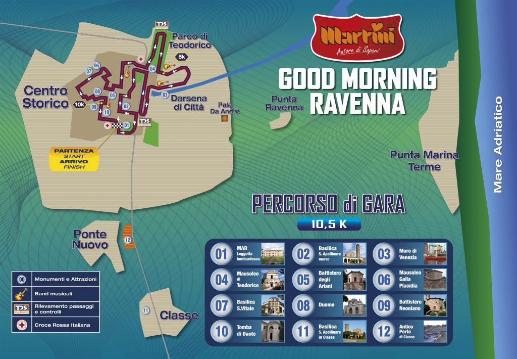 Трасса забега на 10,5 км в рамках Равеннского марафона (Maratona di Ravenna Città d'Arte) 2020
